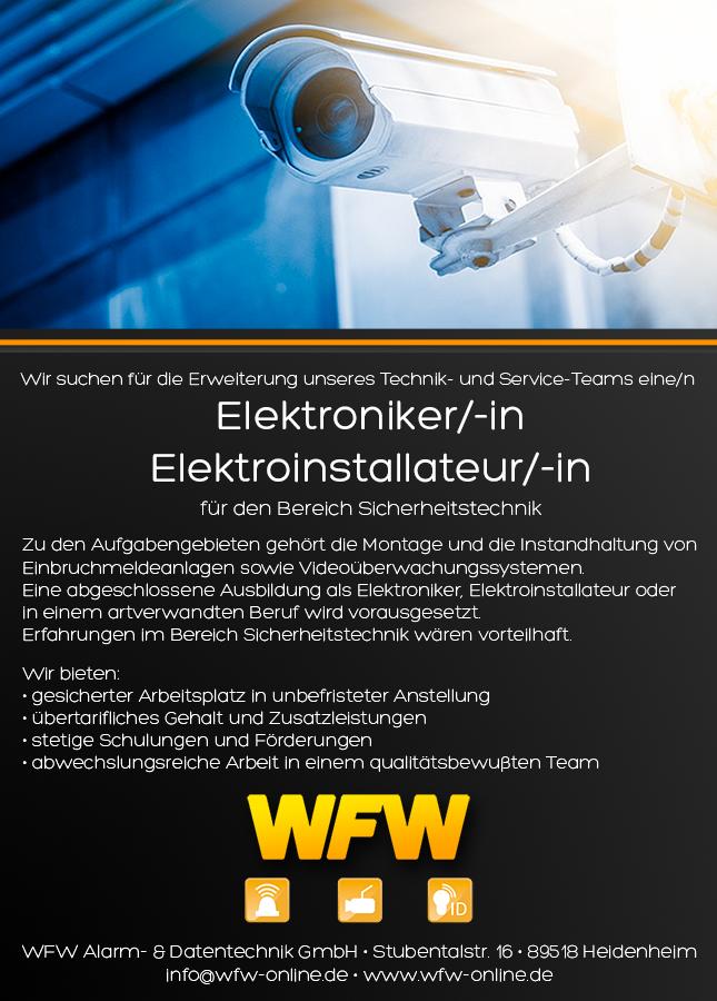 Stellenangebot Techniker Elektroniker WFW